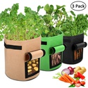 accmor 3 Pcs Garden Potato Grow Bags with Flap and Handles Fabric Pots Heavy Duty