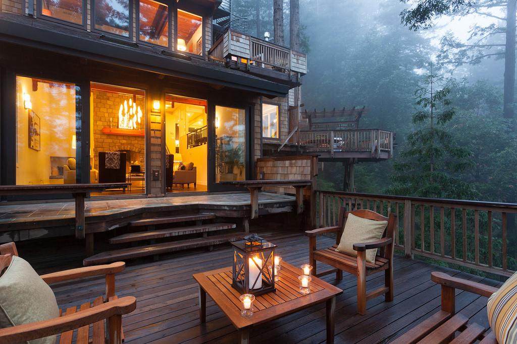 Multi-level forest patio