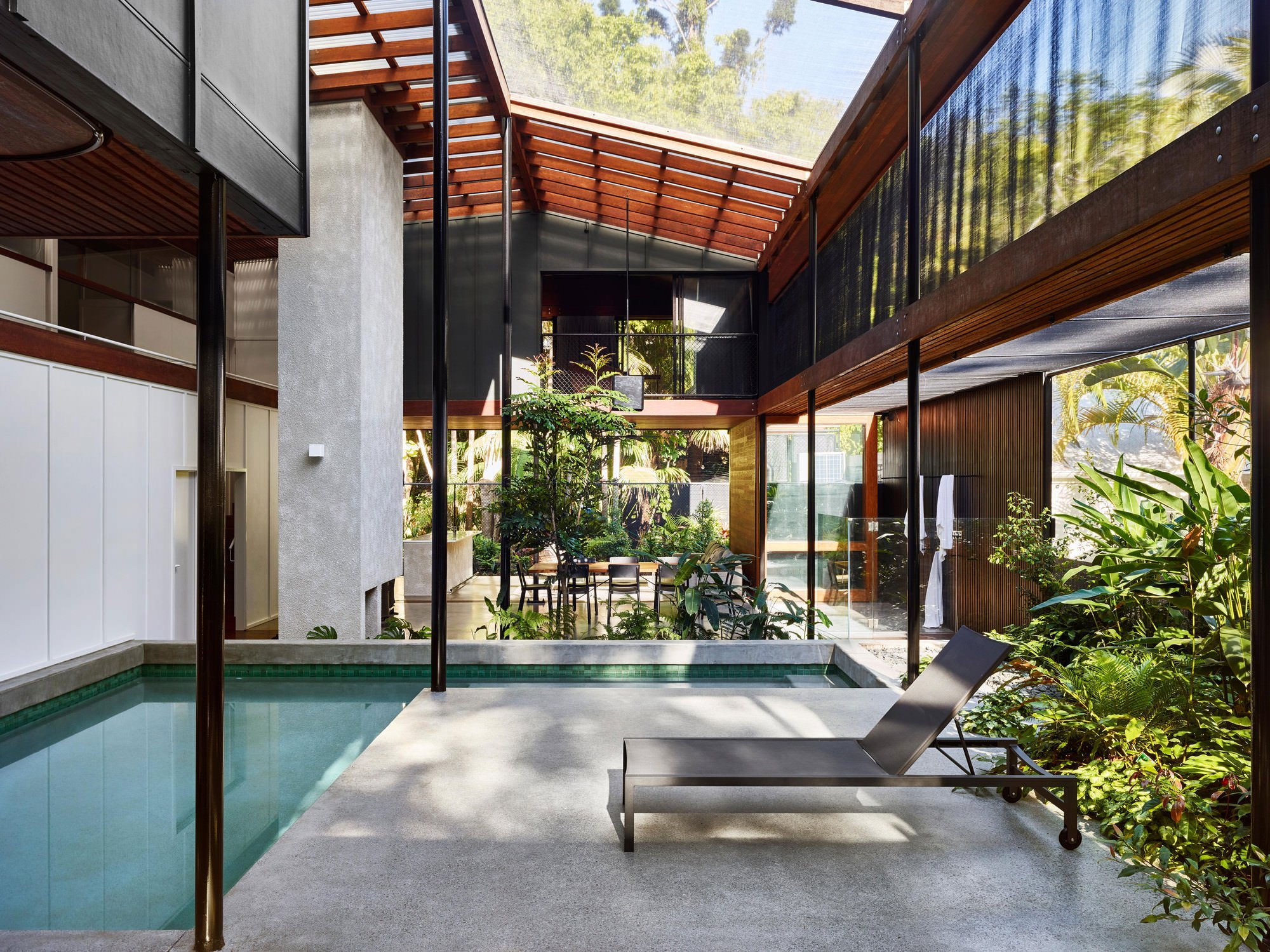 Screened courtyard with a pool in Queensland, Australia